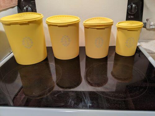 Vintage Tupperware Yellow Canister Set of 4 Sunburst Lids 805 807 809 811