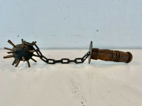 Vintage Possibly Antique Mace Spiked Ball & Chain Medieval Weapon w/ Wooden Hand
