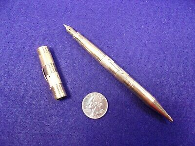 VTG ANTIQUE ART DECO SOLID 14K YELLOW GOLD MECHANICAL PENCIL FOUNTAIN PEN - Art Deco Fountain