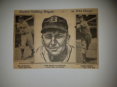 Dixie Walker Bill Nicholson Johnny Barrett 1944 Sporting News Sketch Panel
