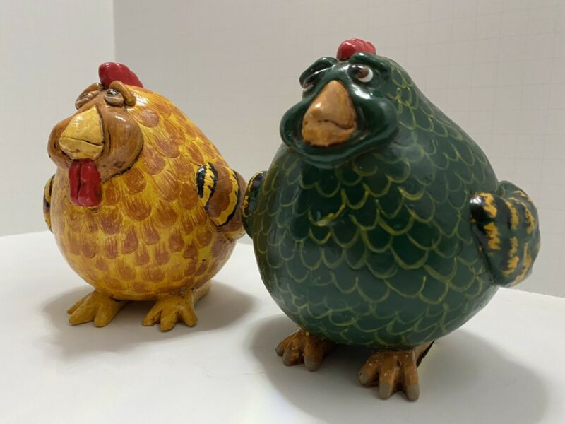 1997 Vicki Thomas Fat Chickens Enesco FolkArt Hand Paintd Gourd Green And Yellow