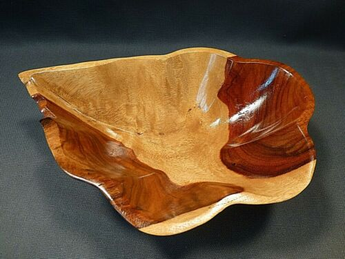 RARE GRANADILLO Hand Carved Wood Bowl, Signed by the woodcarver.