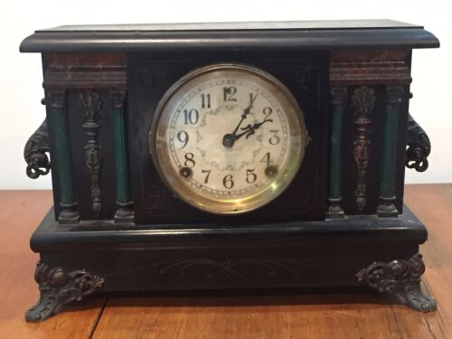 Antique Sessions Mantel Clock with Green Pillars and Floral Face