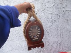 Nautical NAVAL ROPE TRIM CLOCK  w/  ROPE KNOTS  MANTLE or HANGING, UMUSTCIT