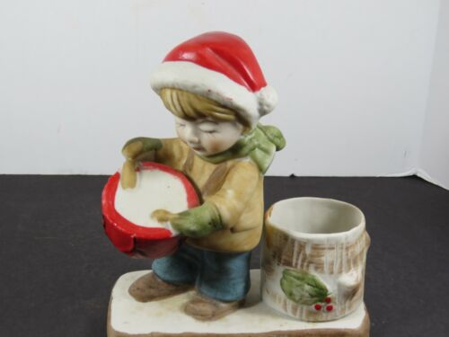 Vintage Hand Painted Drummer Boy Ceramic Christmas Candle Holder Taiwan A9179