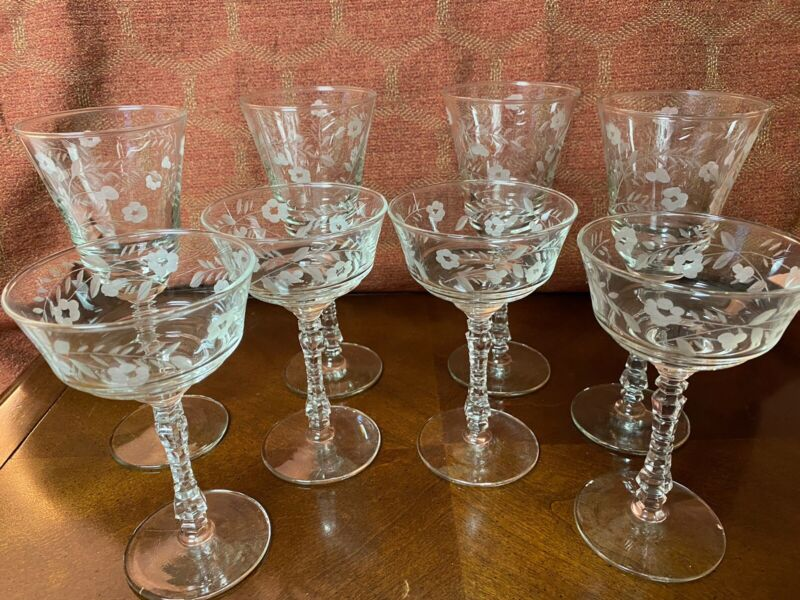 Vintage Set of 8 Wine and Champagne/Dessert Glasses Floral pattern 4 of ea glass