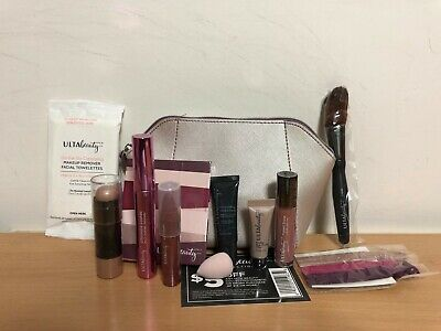 Silver Gift Bag (Ulta Beauty 12 Pcs Makeup Skincare Deluxe Samples Gift Set Bag)