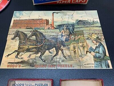 VINTAGE 1800's, JIGSAW ADVERTISING PUZZLE, COMPLETE W/ BOX, DOUBLE SIDED, RARE