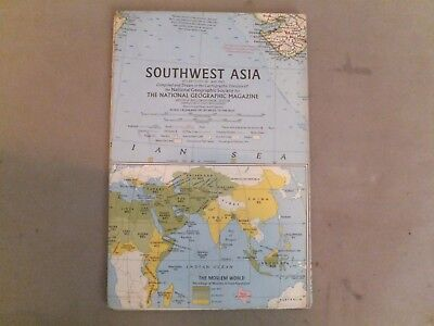 VINTAGE NATIONAL GEOGRAPHIC MAP   SOUTHWEST ASIA