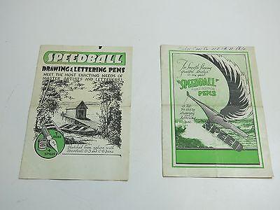 LOT OF 2 ORIGINAL VINTAGE 1930'S SPEEDBALL FOUNTAIN PEN BIFOLD ADVERTISING PIECE