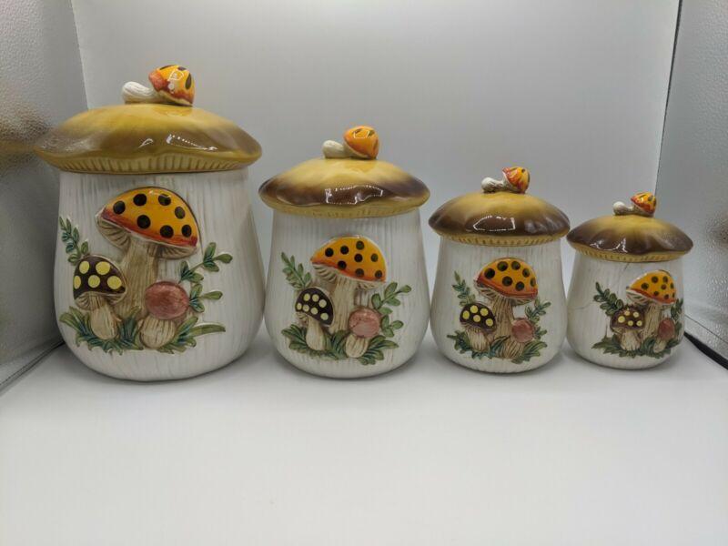 Vintage Mid-Century 1978 - 1983 Sears & Roebuck Mushroom Canister Set