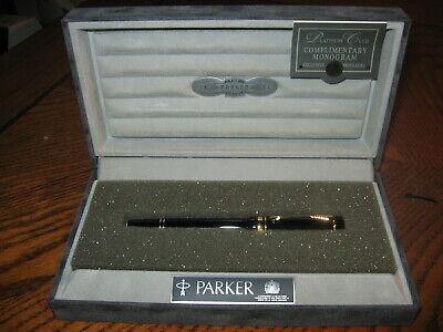 Parker Duofold International Black Fountain Pen 18K Nib Unused In Open Box
