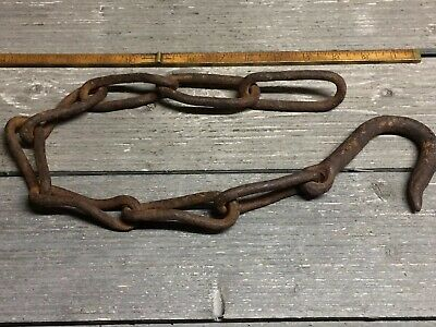 Antique Hand Forged Twisted Link Chain With Hook 26 Inches Long
