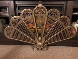 Vintage brass fireplace protector/heat reflector