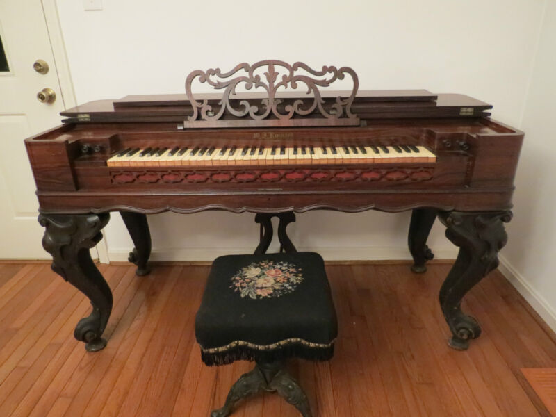 Magnificent Antique Rosewood Working W.J. Kinnard Melodeon Organ , Circa 1850