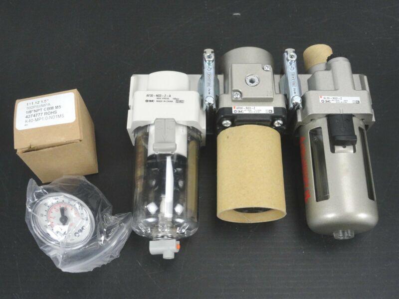 """SMC AF30-N03-Z & AR30-N03-Z REGULATOR, FILTER & MISTER w/ Gage 150PSI, 1/4"""" NPT"""