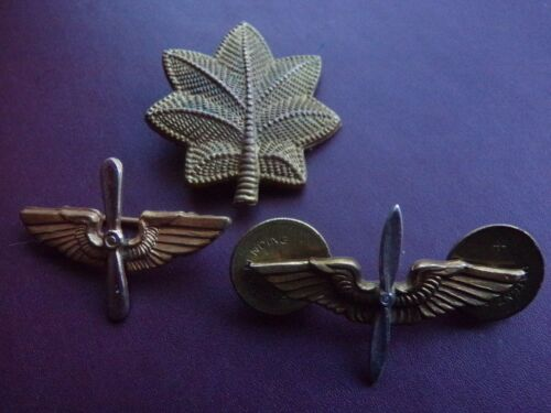 WWII US Army Air Corp Collar Major Rank Pin Military Lot Bishop Angus & Coote
