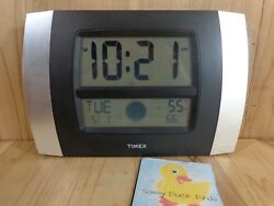 TIMEX Atomic Clock 75324RX Time Date In Out Temperature Moon Phase Wall or Desk