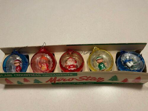 5 Vintage Plastic Diaorama Christmas Ornaments