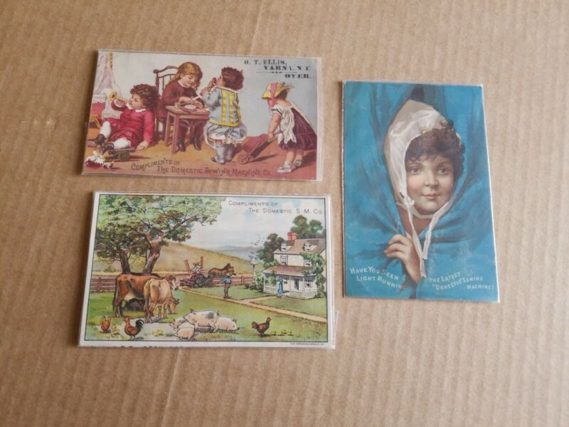 SET OF 3 DOMESTIC SEWING MACHINE VICTORIAN TRADE CARDS