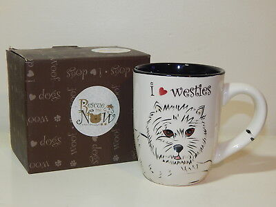 Rescue Me Now I LOVE WESTIES coffee tea cup mug DEE OH GIE West Highland Terrier