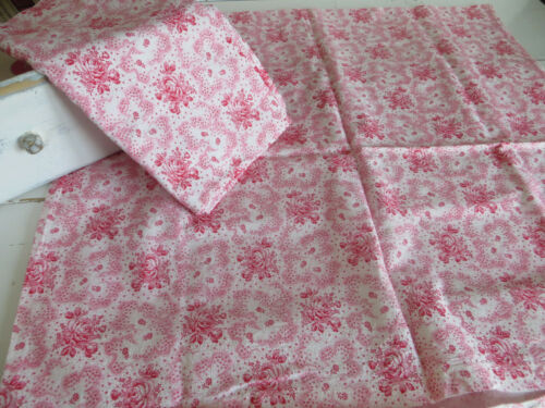 2  Pillowcases Pillowcovers Pillows  Vintagefabric Germanlinen Red Pink Floral