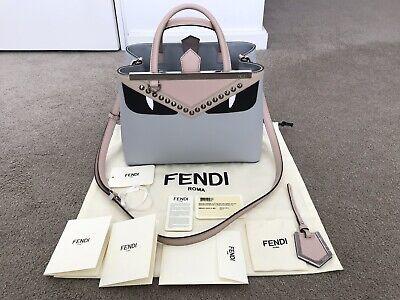 Fendi Petite 2 Jours Monster Bug Tote Shoulder Bag Grey Leather Current Style