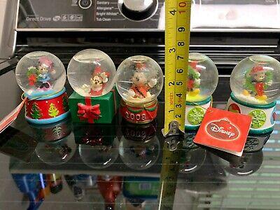 5 total Disney Mickey Mouse Mini Christmas Snow Globes