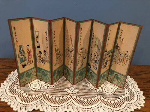 Vintage Asian Table Top Hand Painted Oriental Folding Screen