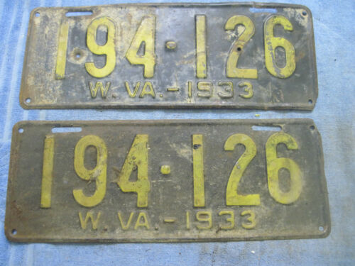 VINTAGE PAIR (FRONT & REAR) West Virginia License Plates  WV 1933  # 194-126
