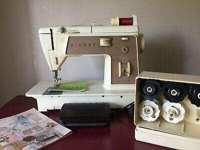 Singer Touch & Sew 758 Zig Zag Sewing Machine w/Case Chain Stitch Discs Manual