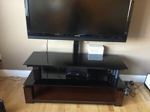 Solid wood and black glass TV stand WITH mount