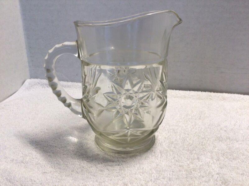 Anchor Hocking EAPC Star American Prescut Glass Creamer Pint Pitcher