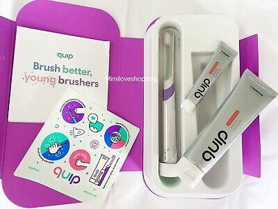 QUIP Kids Electric Toothbrush Sonic Set PURPLE Watermelon Toothpaste + Case