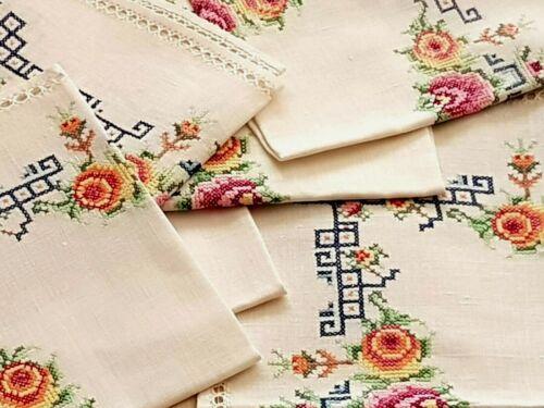 Vintage set hand-embroidered linen  napkins cross stitch-measurements 40x40 cm