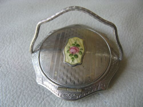 Antique Silver Yellow Guilloche Pink Floral Woopee Dance Compact McRae & Keeler