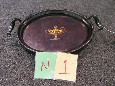 Antique Wooden Glass Oval Serving Tray 2 handles Dark Wood Inlaid 12