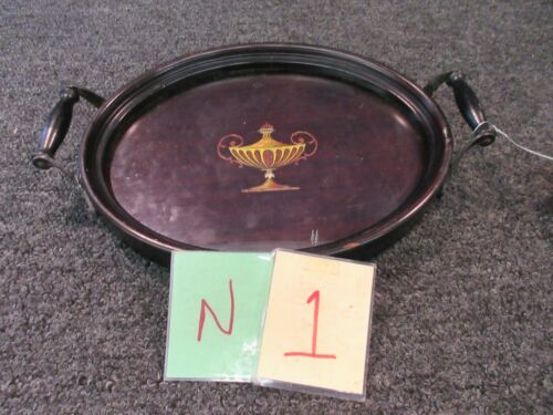 """Antique Wooden Glass Oval Serving Tray 2 handles Dark Wood Inlaid 12"""" x 9.5"""""""