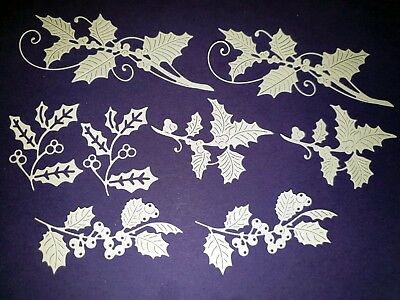 8 x Tattered Lace Holly Die Cuts - Scrapbooking, cardmaking, christmas etc