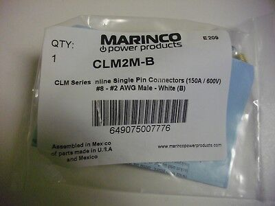 Marinco Clm2m-b Clm Series Inline Single Pin Connector 150a600v Wht