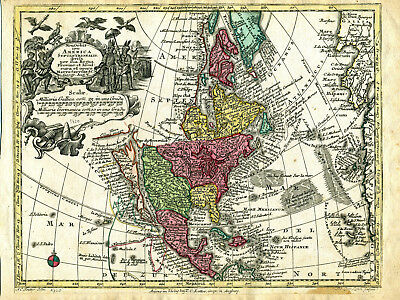 1750 Genuine Antique map North America. California as Island. G.M. Seutter