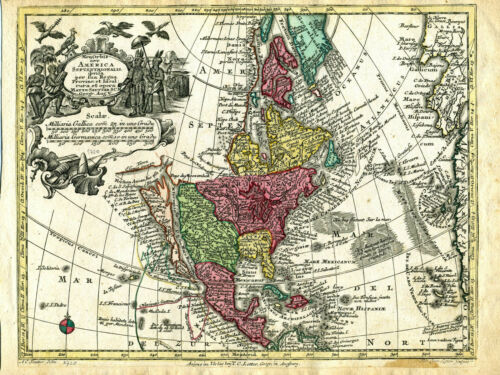 1750 Genuine Antique map North America. California as Island. G.M. Seutter
