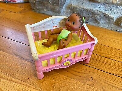 Fisher Price Snap N Style BABY & PINK CRIB for Doll Nursery Furniture Toy