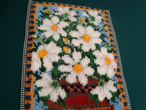 "COMPLETE LATCH HOOK RUG DAISY BASKET WALL HANGING Finished 16"" x 31"" needs bound"