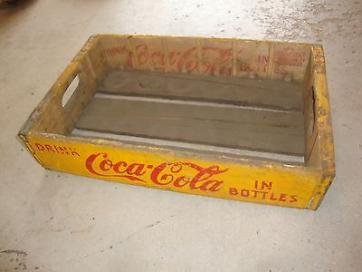 Vintage 1937 Wooden Yellow Coca-Cola Coke Soda Pop Bottle Crate Carrier Box