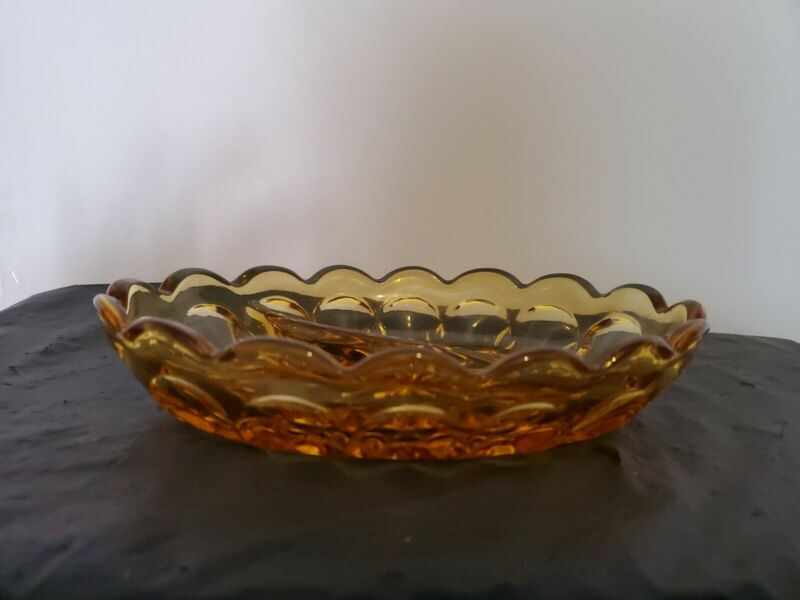 Vintage Indiana Amber Glass Oval Divided Relish Candy Dish Thumbprint Scalloped