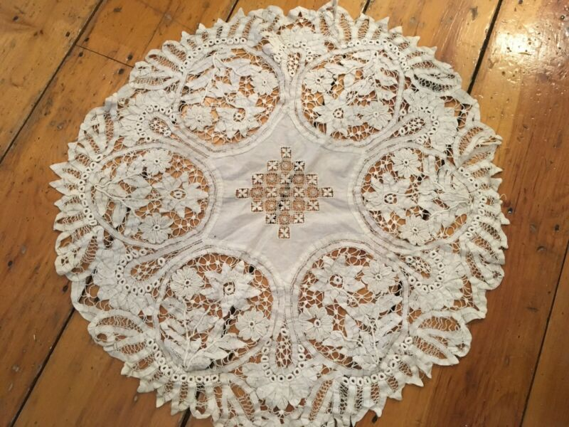 Lovely Antique European Battenberg Tape Lace Tablecloth Spider Needle Work #5