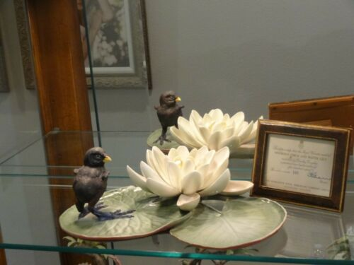 Royal Worcester Dorothy Doughty Moorhen Chick & Water Lily Model: 165 / 500