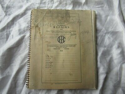 International Plow Tractor Cream Separator Dealer Parts Order Form Book Manual