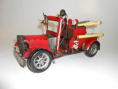 Red Fire Truck-All Metal Vintage-Like Collectible Handcrafted Early 1900's